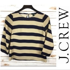 J. Crew Tan and Navy Scoop-neck  Blouse
